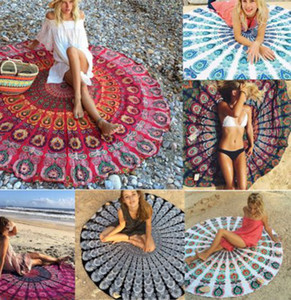 chiffon Boho Beach shawl Indian Mandala Beach Round Tapestry Decor Yoga Boho Picnic Mat sunscreen shawl beach Bikini Cover LJJK2142
