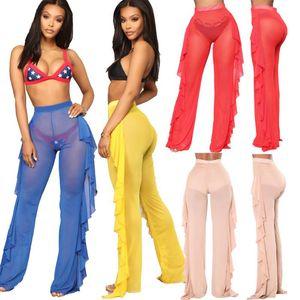 2020 Summer Ladies Ruffles Swim pants Women Beach Mesh Sheer Bikini Cover Up Swimwear Bathing Suit Pant Trousers Loose Cover-Ups
