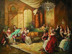 бесплатная доставка суд люди верховая езда джентльмен Мисс путешествия холст картины маслом на холсте стены искусства украшения картина