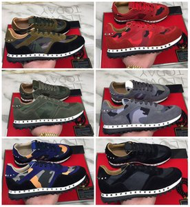 New Hot Brand Camouflage Leather Rock Runner Classic Designer Men Women Fashion Top Quality Rock Studs Sports Sneakers Flat EU35-46 With Box