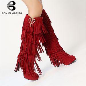BONJOMARISA Yeni 33-43 Moda Fringe Boots Bayan Diz Yüksek Boots Kadınlar 2019 Cazip Yüksek Topuklar Ayakkabı Kadın