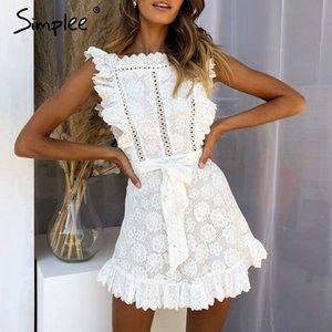 Simplee Elegante pizzo ricamo donne vestono scava fuori fusciacche foderato bianco estate vestitino vestidos partito sexy sottile