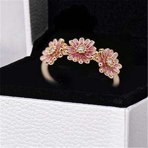 Anello di fidanzamento cerimonia nuziale di modo amanti delle donne anello di 100% Gioielli S925 Sterling Silver Rose Pink Daisy Flower Trio Anello PANDORA