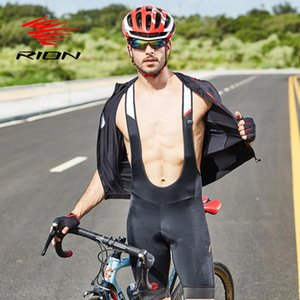 Pantalones RION babero de ciclo pantalones cortos de los hombres de la bici 5R gel acolchado Medias bicicletas PRO profesión equipo de carreras de lycra de secado rápido CUESTA ABAJO