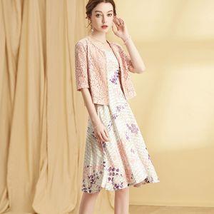 2020 Women Summer Fashion Elegant Office Ladies Dress Suits Formal Set Suit Jacket Lace Blazer Sleeveless A line Dress Plus Size
