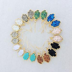 골드 켄드라 스타일 귀걸이는 여성 파티 보석 기하학적 자연 Druzy 매달려 귀걸이 럭셔리 디자이너 귀걸이를 설정합니다
