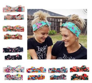 2pcs lot Mother and daughter bow print headband adult newborn boys girls rabbit ear cotton hair bands fashion hair accessories