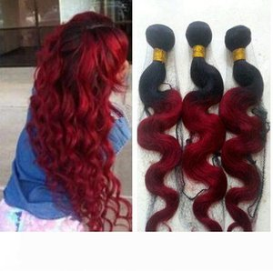 Red Ombre Brazilian Virgin Hair Two Tone Colored Black and Burgundy Ombre Body Wave Human Hair Bundles