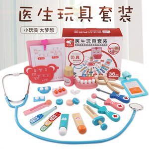 Wooden Children Early Childhood Educational Play House Series Toy Medical Kit Set Doctor Character Play Interactive Game
