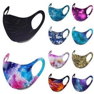 10colors estrellada Imprimir máscara máscaras del polvo anti cubierta lavable PM2.5 hielo del algodón de seda del cielo estrellado de Camo de la llama GGA3523 Máscara del oído que cuelga