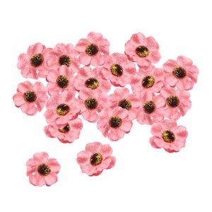 20pcs Craft Plum Blossom Fleurs - Tissu Fleur embellissements, 40mm Polyester Tissu Fleurs pour Artisanat, bricolage mariage Décorations, ornements