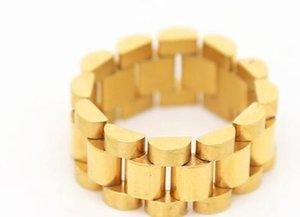 pingente anel de homem clássico fresco Hip Hop dos homens homens jewerly tocar 316L Mens Stainless Steel Presidente 24K Golden Link Estilo Anel