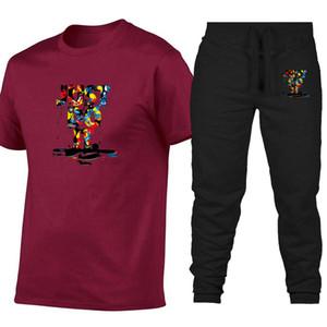 Летние мужские женские письма печатные хлопчатобумажные брюки с короткими рукавами брюки футболка повседневные спортивные костюмы модные топы дизайнерская футболка пот рубашка