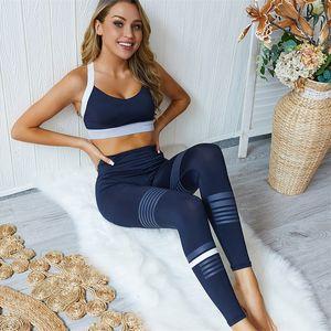 Mode Fitness Training Trainingsanzüge Sets Gestreifte Hohe Taille Skinny Hosen Gepolsterte BH Weste Top Outfits Yoga Anzüge für Frauen Apparel 50ZC E19