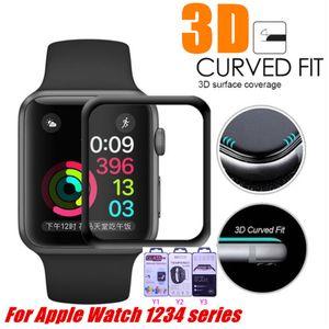 Для Apple Watch 4 Полное Покрытие 9H 3D Изогнутый Край Клей Закаленное Стекло Пленка Протектор Экрана 40 мм 44 мм 38 мм 42 мм Для iWatch 123