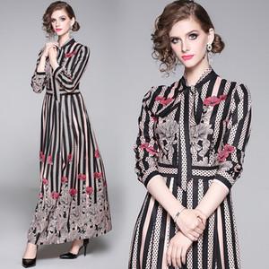2020 الربيع المدرج Maxi ثوب المرأة كم طويل الياقة القوس مخطط زهرة طباعة خمر فستان طويل أنثى الإمبراطورية تريند اللباس