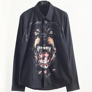 Hot style 3D fashion trend big dog printing men's shirt with long sleeves