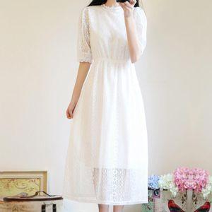 Summer Cute Dress Woman Korean Style White Lace long Dress Japanese Cute Beach Party Boho Kawaii Elegant