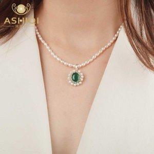 ASHIQI Real пресной воды жемчужина Природные агат ожерелье 925 серебро ручной работы дизайн Vintage ювелирные изделия