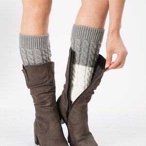 Women Winter Warm Patchwork Thermal Acrylic Knitted Boot Cuffs Socks Cover Shoe Boot Socks