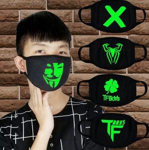 Черный Световая маска Скелет езда Cotton Face черный для Человек Женщина Анти Dust Glow рот маски темноты в ночь косплей маскировать KKA7852