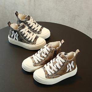 Crianças Designer de Moda Canvas Shoes Luxo Rapazes Meninas Estudante Side Zipper sapatos de grife Juventude Carta Bordados Shoes