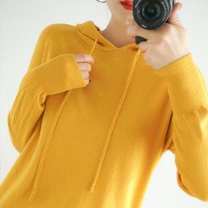 Primavera com capuz 2020 e Outono camisola de malha fina seção solto fino de manga comprida idade amarelo ocasional redução mulheres camisola