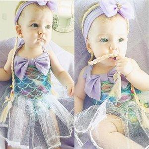 Vieeoease طفل الفتيات رومبير حورية البحر زهرة ملابس الطفل 2019 الصيف الأشرطة لطيف الرباط طباعة السروال القصير CC-408