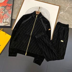 Novas mens designer de treino mens luxo de veludo moda suar ternos arrefecer calças compridas streetwear (Casacos + calça) M-3XL