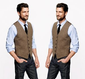 2020 Farm Wedding Vintage Brown Tweed Gilet su ordine sposo Vest Mens Slim Fit Tailor Made Wedding Gilet For Men (Vest + tie)