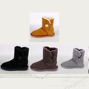 Novas botas para adultos no inverno de 2019 fivela de pelúcia feminina quente e pura cor sapatos sapatos de balé botas Homens e mulheres com golpe