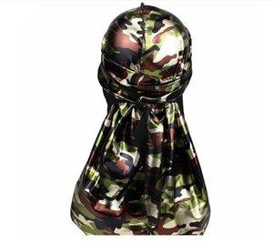 Miltary Camouflage Silky Durag per uomo e donna New 360 Waves Long Tail Farina frizzante Set di tappi di seta Durags