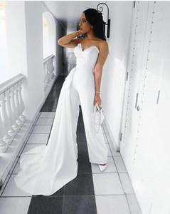 Women Long Sheath Elegant Sweetheart Jumpsuit Evening Dresses with Pockets Robe De Soiree White Prom Gowns Detachable Train Vestido De Festa