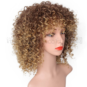 2021 popular European and American wigs, ladies, African small rolls, short curls, short curls, chemical fiber heads, manufacturers out of s