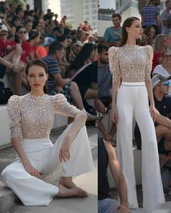 2020 وهم حديث الأعلى حفلة موسيقية فساتين الدانتيل appliqued الديكور جوهرة الرقبة المرأة بانت الدعاوى ثياب السهرة مدرج الأزياء