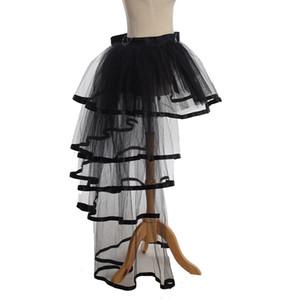 Mujeres Mesh Tulle Bustle Skirt Steampunk Victorian Party Tutu Ruffle Tiered Faldas Escenario Dance Dance Clubwear