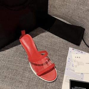 2019 NUOVI Ciabatte colorate di alta qualità Pantofole di lusso Ciabatte di design PVC Pelle di agnello Donna Muli colorati marchio Fashion shoe withbox
