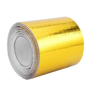"""2 """"× 5 متر الحرارة درع مقاومة التفاف عززت الشريط لاصق المدعومة العادم التفاف الذهب الحرارة التفاف مع 6 قطع العلاقات"""