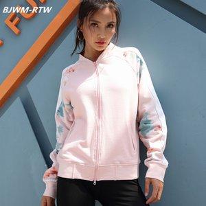 Long Sleeve Print Stitching Weiß-Streifen Sport Pullover Frauen Zipper Jacke mit V-Ausschnitt Pocket-Fitness Laufjacke Rosa Frauen-Mantel
