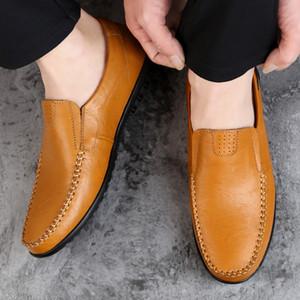 Mens del cuero genuino del mocasín Zapatos Negro planos de los hombres respirables mocasines italianos cómodos ocasionales más el tamaño 37-47 Zapatos de conducción