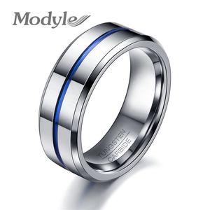 Modyle 2018 Mode Fine Ligne Bleue Tungstène Bague De Mariage Marque 8mm Carbure De Tungstène Anneaux Pour Hommes Bijoux J190718