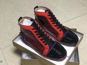 2020 новая мода красной подошвой кроссовки Мужчины Женщины высокое качество повседневная обувь ХЛЛ обувь мужская высокого верха носком со стразами сзади шипы кед