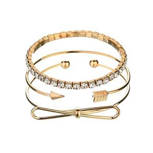 3Pcs set Bohemian Gold Bracelets For Women Arrow Bow Knot Opening Bangles Girls Party Jewelry Wrist Bracelets