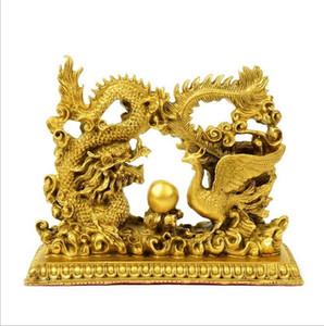 Dragon and Phoenix Chengxiang Dragon and Phoenix Opera Beads Phoenix Peach Blossoms Promote Marriage Wedding Bronze Decoration
