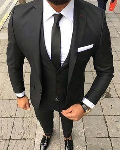 Classy Black Gentle Man Tuxedo Convient Beau Costume De Mariée Un Bouton Costume De Mariage Slim Fit Pour Hommes (Veste + Pantalon + Gilet) par Tuxe Hommes Prdos