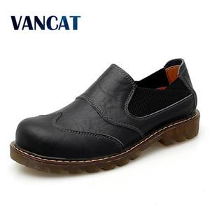 Zapatos Vancat Nueva transpirable Oxford de los hombres de vestido superior calidad de los zapatos planos de los hombres del cuero genuino trabajo informal