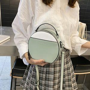 Moda feminina Shoulder Bag cor correspondente de couro das mulheres Crossbody Messenger Bags Ladies Bolsa Feminino Rodada Bolsa s
