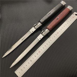 OEM Mafia Stiletto 13 pouces Rouge / Noir avec manche en bois simple action Couteau de poche Couteau de chasse automatique Camping AB Couteaux cadeau de Noël couteau Italie