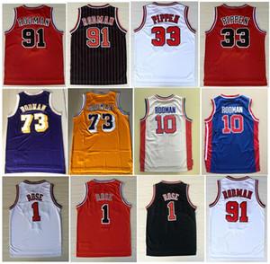 Gli uomini di alta qualità ricamo sportivo maglie Vintage 1 # Derrick Rose Jersey La vite senza fine 91 # Dennis Rodman 33 # Scottie Pippen camicie cucita
