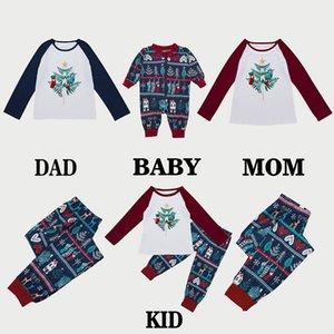 2018 Nueva Marca impresión de algodón largo de la manga Familia Christmas Matching pijamas Set Mujeres Bebés y Niños de Navidad ropa de dormir ropa de dormir